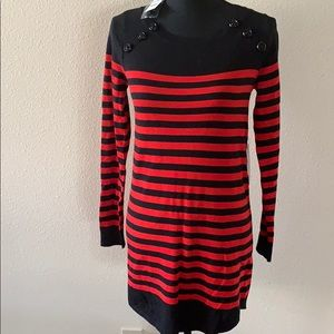 Express red & black striped sweater dress